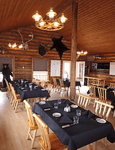 inside spacious comfortable lodge at Budd's Gunisao Lake Lodge World's Best Trophy Walleye and Northern Pike Fishing