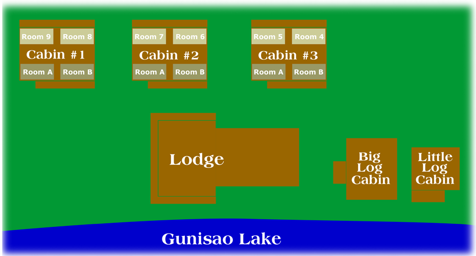 map of Lodge and Cabins at Budd's Gunisao Lake Lodge World's Best Trophy Walleye and Northern Pike Fishing, Manitoba, Canada