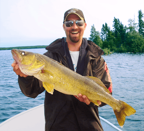 HUGE Walleye caught at Budd's Gunisao Lake Lodge World's Best Trophy Walleye and Northern Pike Fishing, Manitoba, Canada joins Budd's Master Angler Club