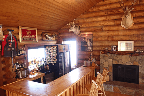 belly up to the Watering Hole Bar at Budd's Gunisao Lake Lodge World's Best Trophy Walleye and Northern Pike Fishing, Manitoba, Canada