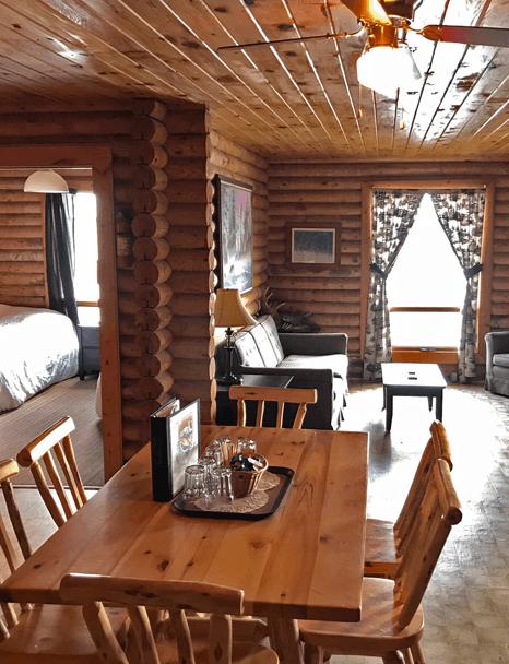 inside Big Log Cabin living room at Budd's Gunisao Lake Lodge World's Best Trophy Walleye and Northern Pike Fishing